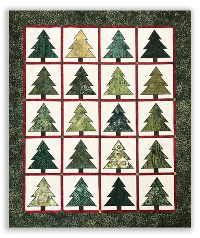 "Jordan Fabrics - Hoffman Batik Tree Applique VIDEO BUNDLE Quilt Kit - Ponderosa Pines - Includes 10"" Pre-cut Squares"