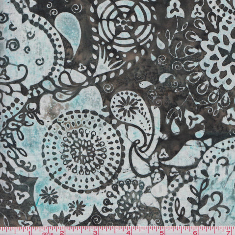 Hoffman Bali Batik URT 2020 Fun Floral on Greyish Green by the yard