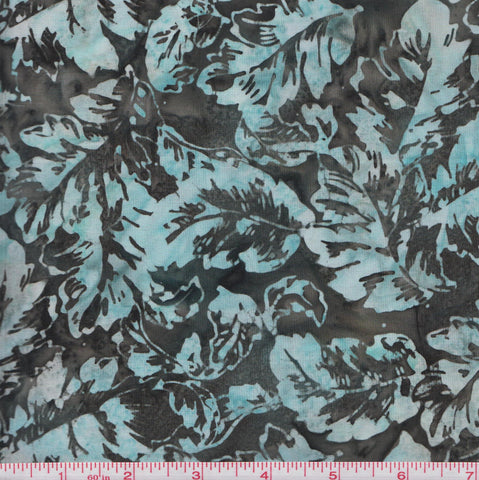 Hoffman Bali Batiks URT 2021 Medium Leaves on Grey By The Yard