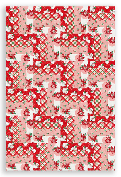 Moda Holiday Pre-Cut 24 Block Rail Fence Quilt Kit - Vintage Christmas