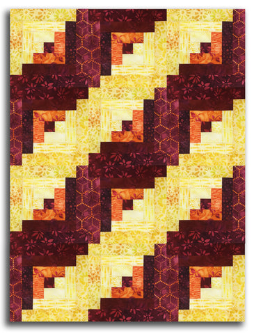Kaufman Batik PRE-CUT 12 Block Log Cabin Quilt Kit - Waiting For The Sun