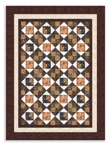 Hoffman Bali Batiks Pre-Cut 12 Block King's Crown Quilt Kit - Walnut Grove