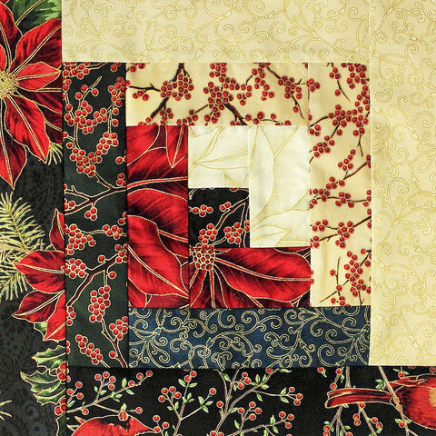 Hoffman Fabrics Christmas Pre-Cut 12 Block Log Cabin Quilt Kit - Warm Wishes