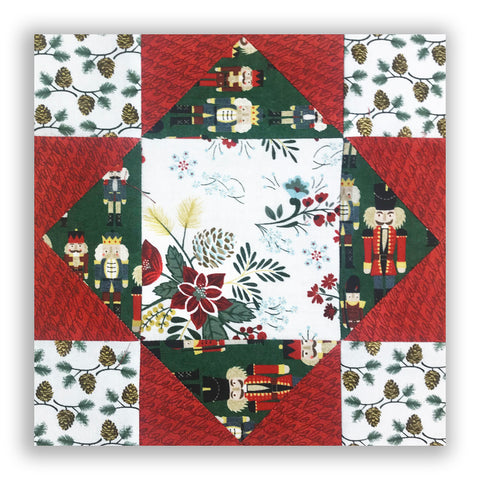 Moda Holiday Pre-Cut 12 Block King's Crown Quilt Kit - Winter Village