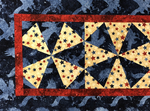 Windmills VIDEO BUNDLE Table Runner & 4 Place Mat Kit - ALTERNATE COLOR Americana Stars