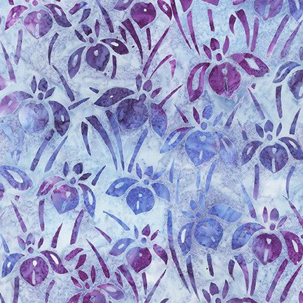 Kaufman Artisan Batiks Evening Stroll 19483 20 Amethyst Bed Of Irises By The Yard