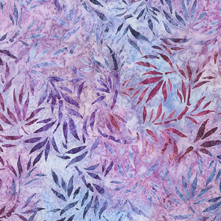 Kaufman Artisan Batiks Evening Stroll 19484 6 Purple Cascading Leaves By The Yard
