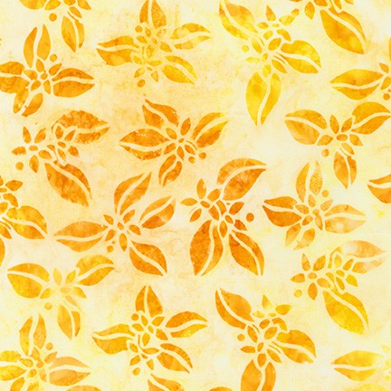 Kaufman Artisan Batiks Summer Zest 19532 137 Lemon Citrus Blossoms By The Yard