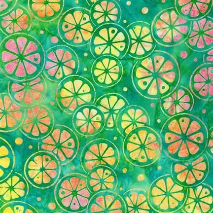 Kaufman Artisan Batiks Summer Zest 19533 7 Green Slices By The Yard