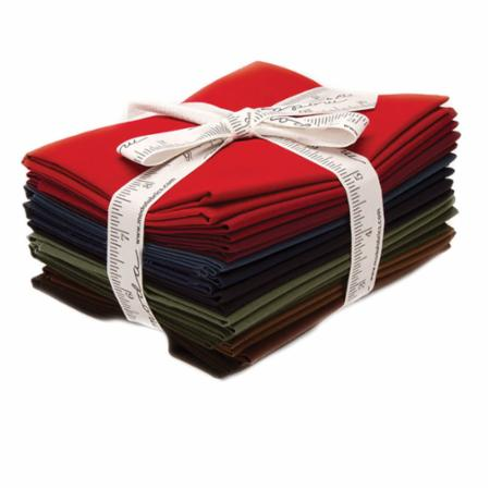 Moda Pre-Cut 12 Fat Quarter Bundle AB132 - Pattern Included - Bella Solids Darks