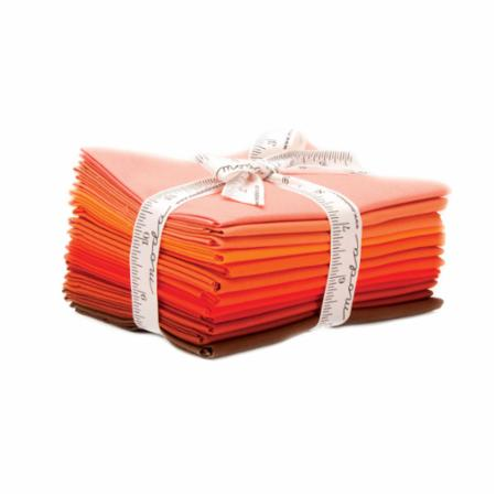 Moda Pre-Cut 12 Fat Quarter Bundle AB129 - Pattern Included - Bella Solids Orange