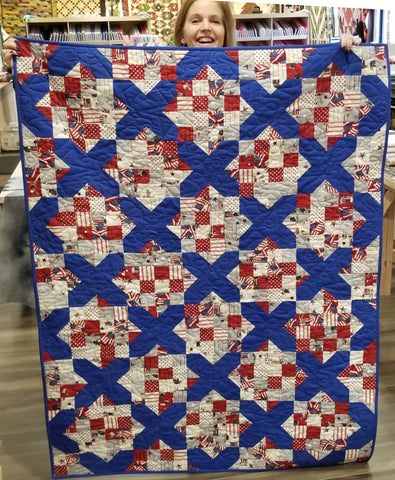 Scrappy Square Video Bundle with Pre-cut 26 Fat Quarter Bundle - County Fair Blue Ribbon
