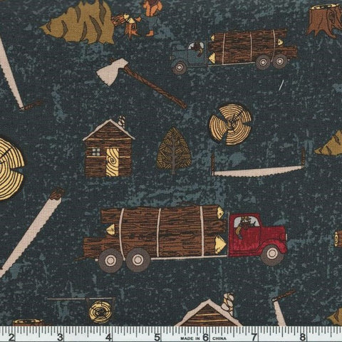 Riley Blake Lumberjack Aaron C8700 Blue Lumberjack Life By The Yard