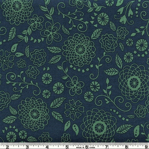 Riley Blake Wildflower Boutique C8833 Navy Line Work By The Yard