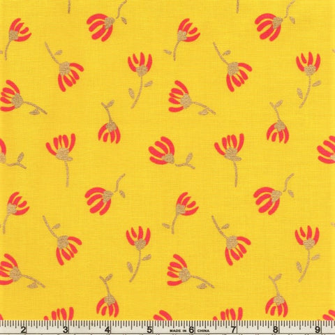 Riley Blake Metallic Sweet Honey Kisses SC8965 Yellow Sparkle Cosmos by the yard