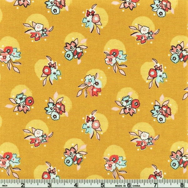 Riley Blake Petals & Pots C8972 Mustard Haloed Flowers By The Yard