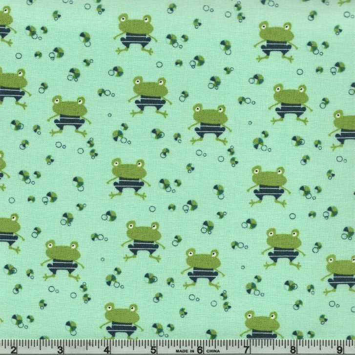 Ready fabric by the yard kids face mask fabric boy mask fabric Splash by Riley Blake--Frogs in Deep Sea set Frog fabric