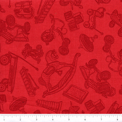RJR Fabrics Where the Toys Are 1714 2 Toys On Red/Orange By The Yard