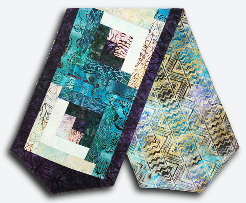Robert Kaufman Batik Pre-Cut Log Cabin Table Runner Kit - Desertscapes Turquoise