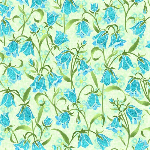RJR Metallic Blue Belle FF202-SP1M Springtime Brilliant Blooms By The Yard