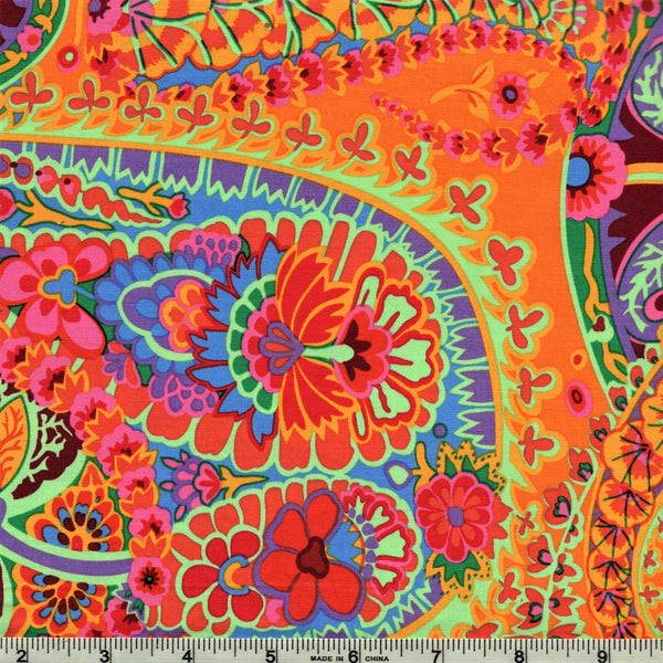 Free Spirit Kaffe Fassett GP60 Tangerine Paisley Jungle by the yard