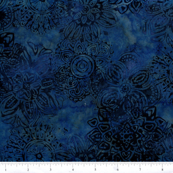 Hoffman Bali Batik BLU 9035 Moon Dance Blue Mandalas By The Yard
