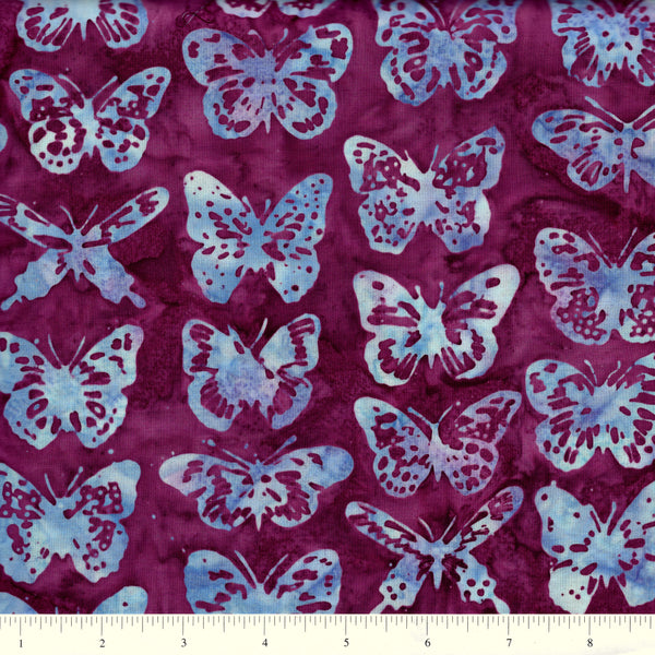 Hoffman Bali Batiks 2001 72 Magenta Blue Butterflies By The Yard