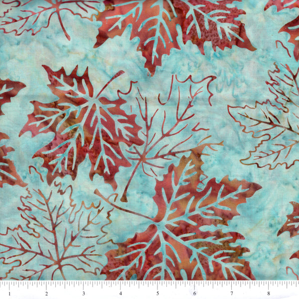 Hoffman Bali Batik 2664 36 Vienna Large Maple Leaves On Blue By The Yard