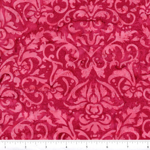 Hoffman Bali Batik 2895 599 Valentine Flowers On Dark Pink By The Yard