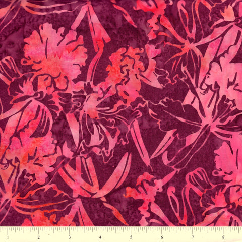 Hoffman Bali Batiks 2812 212 Berry Tropical Orchids By The Yard