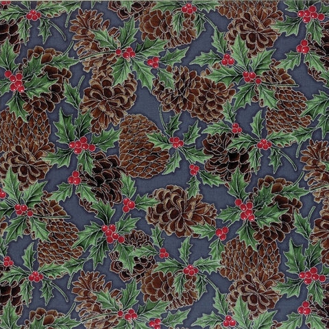 Hoffman Metallic Christmas 7465 147 Pine Cones & Holly On Storm Grey By The Yard