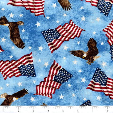 Northcott Stars & Stripes 39385 44 Eagles & Flags On Blue By The Yard