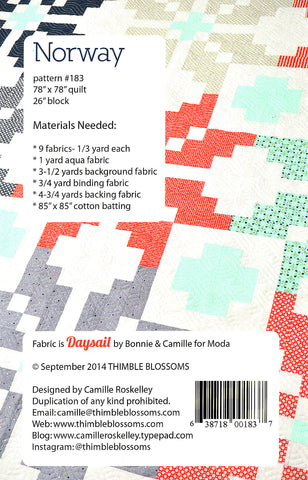 NORWAY - Thimble Blossoms Quilt Pattern