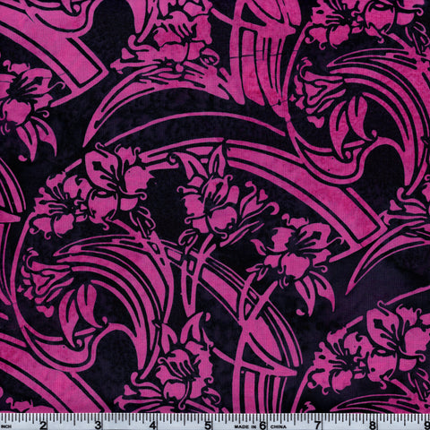 Hoffman Bali Batik PNK 5231 Pink & Black Hawaiian Swirl By The Yard