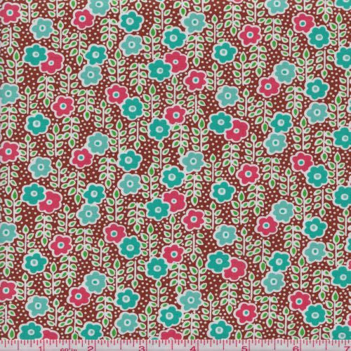 Anthology Fabrics Modern Series PR 140 Brown Turquoise Small Floral By The Yard