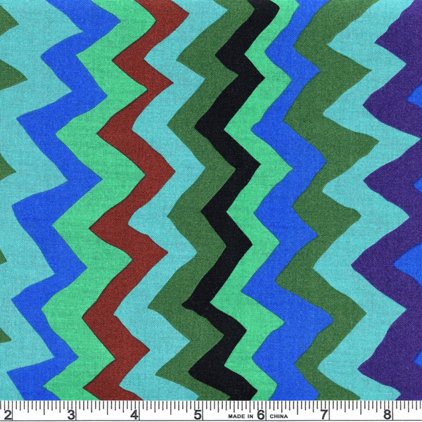 Free Spirit Kaffe Fassett Collective PWBM062 Green Sound Waves By The Yard