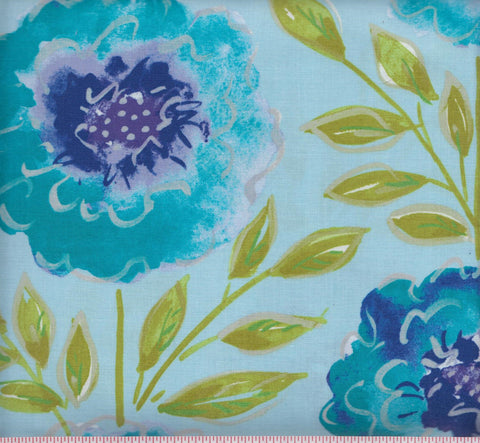 Free Spirit Dena Designs PWDF 137 Peacock Large Floral on Light Blue by the yard