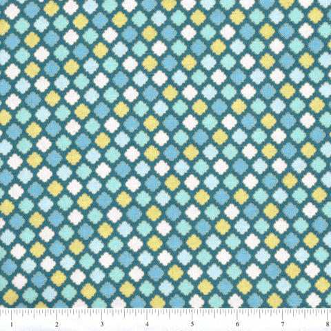 RJR Fabrics Cold Spring Dreams 1414 1 Yellow On Teal Tile Foulard By The Yard