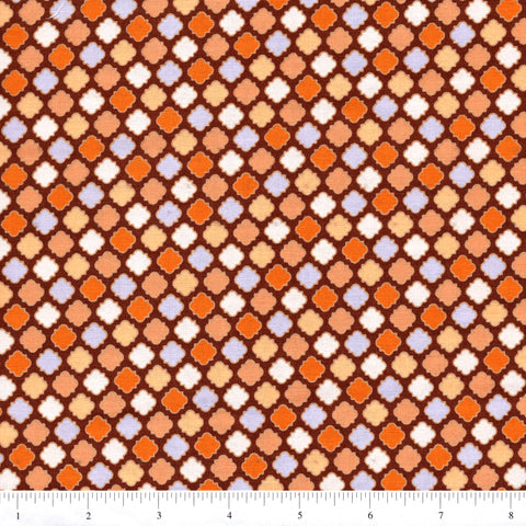 RJR Fabrics Cold Spring Dreams 1414 22 Brown/Orange Tile Foulard By The Yard