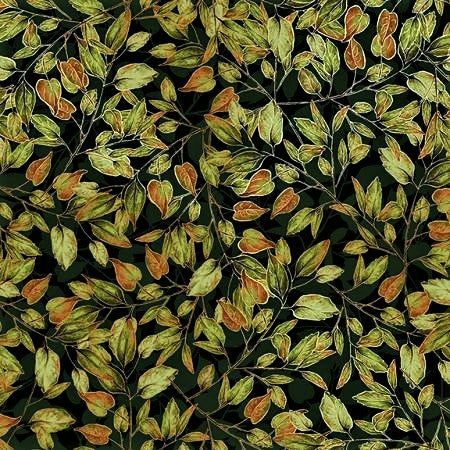 RJR Fabrics Metallic Shades Of Autumn RJ703 FO1M Forest Dancing Leaves By The Yard