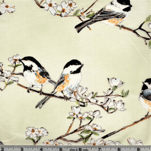 Hoffman Metallics 4505 426 Chickadees & White Cherry Blossoms Muted Oregano/Silver By The Yard