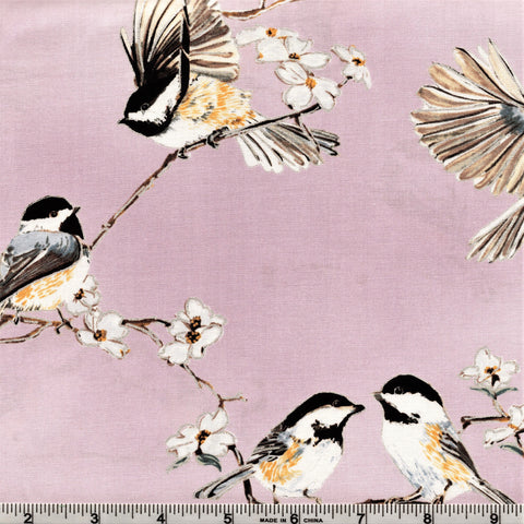Hoffman Metallics 4505 D11 Chickadees & White Cherry Blossoms Dusty Mauve/Silver By The Yard