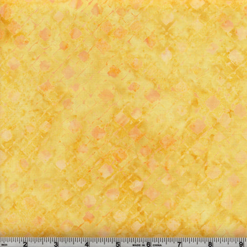 Anthology Batik 16743 Abstract Yellow Peach Diamond Grid By The Yard