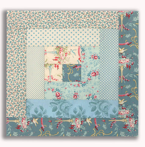 Tilda PRE-CUT 12 Block Log Cabin Quilt Kit - Tilda Blue