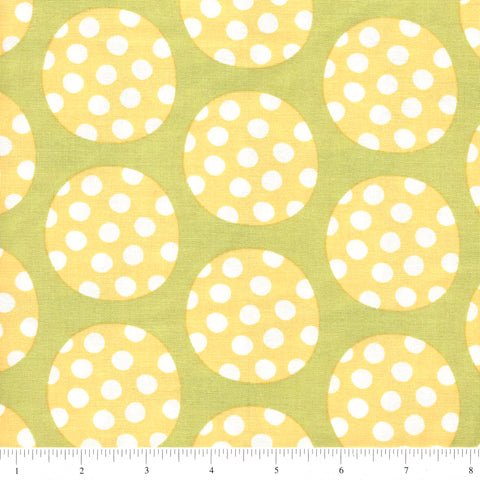 Windham Fabrics Precious 36353 3 Yellow Polka Dot Circles On Green By The Yard
