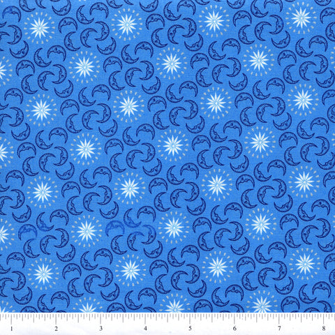 Windham Fabrics Celestial 39585M 4 Half Moons On Blue By The Yard