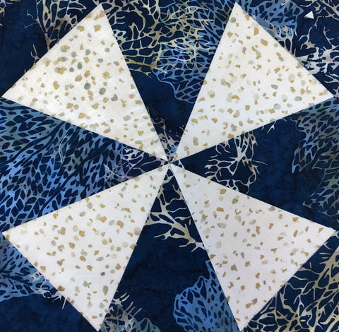 Windmills VIDEO BUNDLE Table Runner & 4 Place Mat Kit - ALTERNATE COLOR Blue Batik