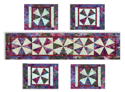 Windmills VIDEO BUNDLE Table Runner & 4 Place Mat Kit - ALTERNATE COLOR Jungle Batik