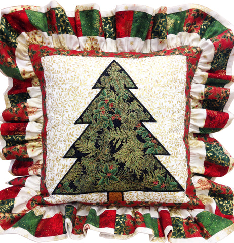 Pieced Ruffle Pillow with Christmas Tree Applique Precut Kit