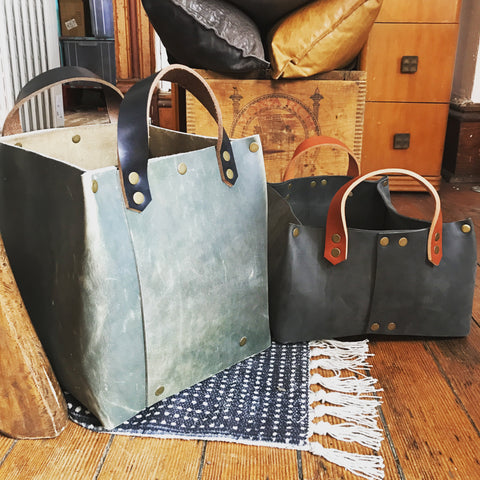 ::Leather Kindling Tote and Firewood Carrier::